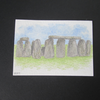 Stonehenge Aceo original coloured pencil drawing