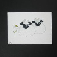 Watercolour painting aceo original, Sheep, flower, animals