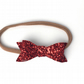 Red Glitter Hair Bow - HEADBAND