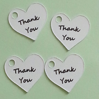 40 White Heart 'Thank You' Tags Handmade Gifts Weddings