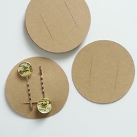 12 Round Blank Hair Accessory Display Cards Eco Kraft Brown