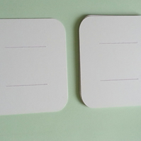 12 Rounded Rectangle Blank Hair Accessory Display Cards White