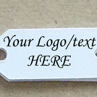 "50 Small White CUSTOM 1"" Arrow Shaped  Price Gift Tag Cards PLUS Fasteners"