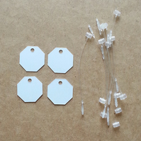 "40 Small White 1""  Octagon Price Gift Tag Cards PLUS Fasteners"