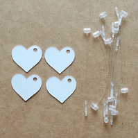 "40 Small White 1"" Heart Price Gift Tag Cards PLUS Fasteners"