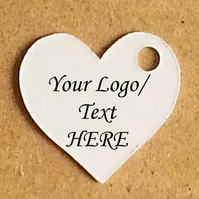 50 CUSTOM Heart Labels PLUS Fasteners  - Add your own logo or text