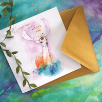 Always wear your Invisible crown, Watercolor Deer Antlers greetings card