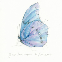 Original Your Tre Nature Butterfly framed Watercolour painting