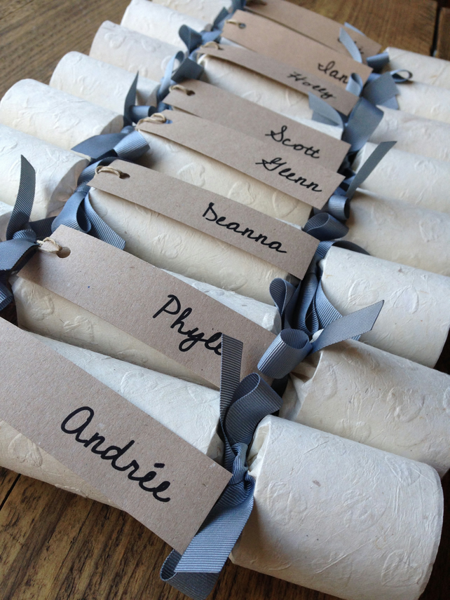10 Hand Made Wedding Favour Crackers - Embossed Hearts