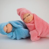 Tiny twin dolls - boy and girl baby dolls - blue and pink - baby shower gift
