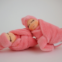 Tiny twin dolls - girl twins - baby dolls - pink baby dolls - baby shower gift