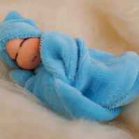 Tiny Waldorf doll - boy baby doll - blue baby doll - baby shower gift