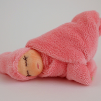 Girl baby doll - little pink doll - pocket doll - Tiny Waldorf doll