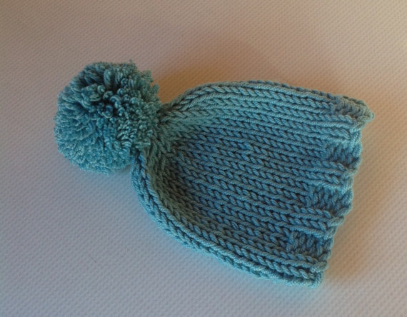 Hand Knitted Baby Hat in Debbie Bliss Cashmerino Yarn - 0-3 Months