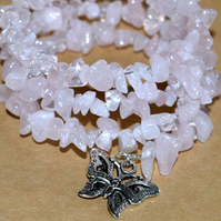Rose Quartz Butterfly Wrap Bracelet.