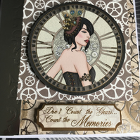Steampunk Lady Birthday Card
