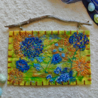 Cornflowers and marigolds felt wall hanging