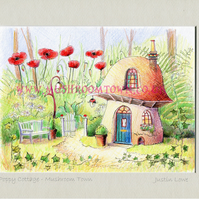 Poppy Cottage - signed & titled print 10x8 inch - self frame