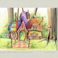 Gingerbread Cottage -  signed & titled print 10x8 inch -self frame