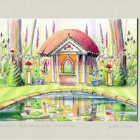 The Lily Pool -  signed & titled print 10x8 inch -self frame