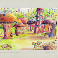 Mushroom Town Funfair - signed & titled print 10x8 inch -self frame