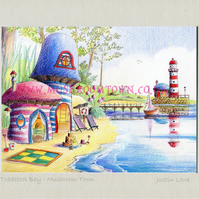 Toadstool Bay - signed & titled print 10x8 inch -self frame