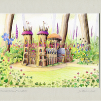 Mushroom Minster - signed & titled print 10x8 inch -self frame