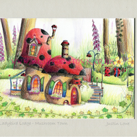 Ladybird Lodge - signed & titled print 10x8 inch -self frame