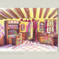 Mushroom Town Sweet Shop -  signed & titled print 10x8 inch -self frame