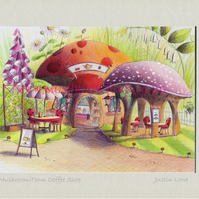 Mushroom Town Coffee Shop -  signed & titled print 10x8 inch -self frame