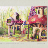 Ink Cap Cottage -  signed & titled print 10x8 inch -self frame