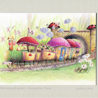 The Acorn Express Train  -  signed & titled print 10x8 inch -self frame