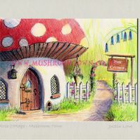 Rose Cottage -  signed & titled print 10x8 inch -self frame