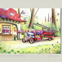 Mushroom Town Fire Station -  signed & titled print 10x8 inch -self frame