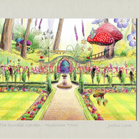 The Sundial Garden -  signed & titled print 10x8 inch -self frame