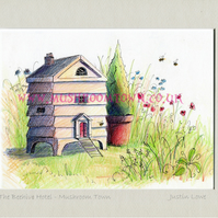 The Beehive Hotel -  signed & titled print 10x8 inch -self frame