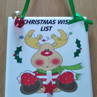 Childrens Christmas Wish List Plaque decoration