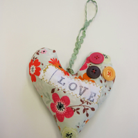 Padded Love Heart Hanging decoration