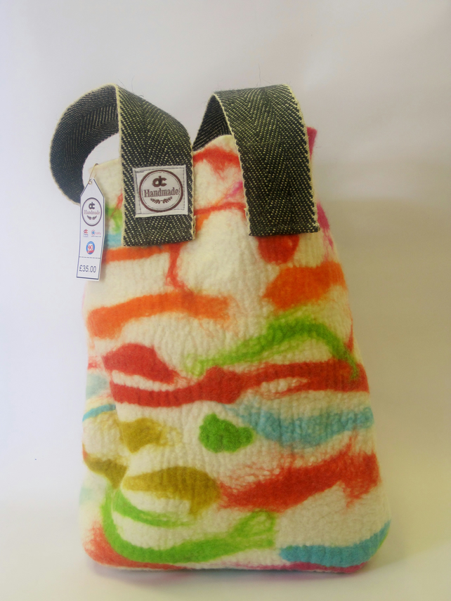Handmade colourful felt bag