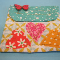 Heart Themed Fabric Pouch Purse
