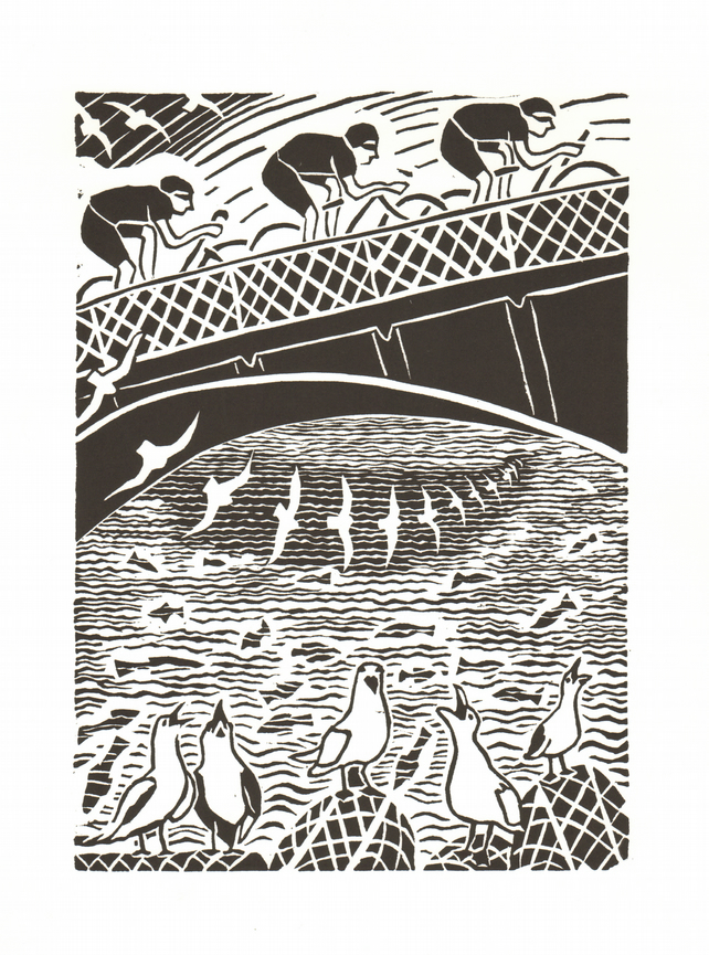 """Cyclists, Sea-gulls and Whitby Bridge"""
