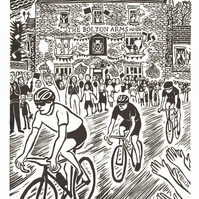 """Le Tour comes to Leyburn"" large linoprint"