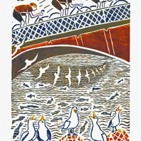 """Cyclists, Sea-gulls and Whitby Bridge"" Colour Lino-print - edition number 14"