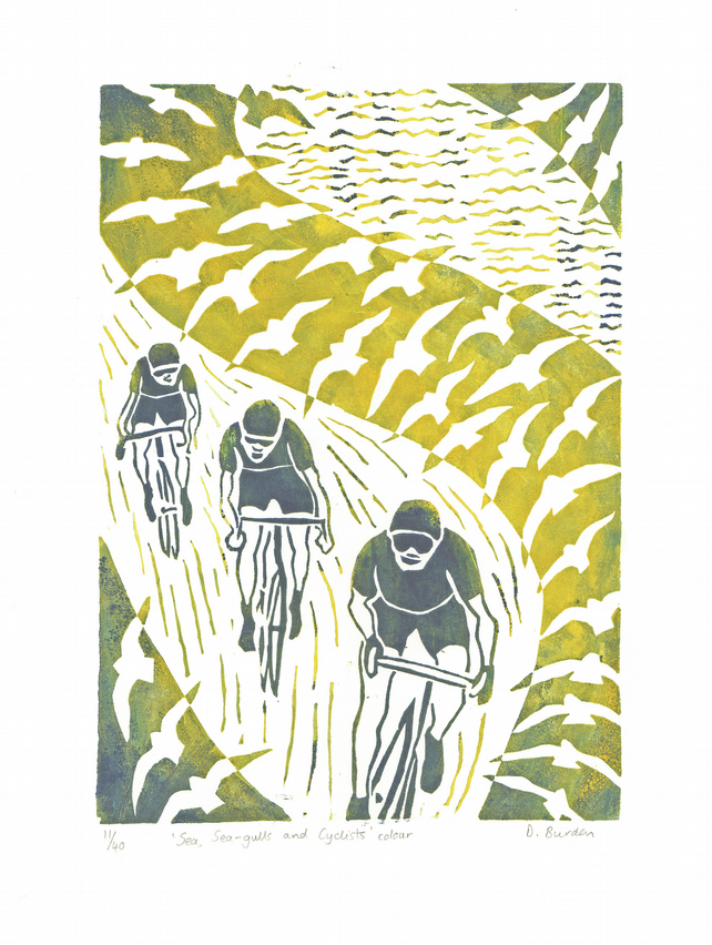 Sea, sea-gulls and cyclists - coloured hand-printed linoprint