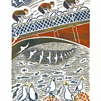 Handprinted coloured lino-print of cyclists, sea-gulls and Whitby Bridge.