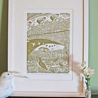 "Hand-printed lino ""Le Tour, Usha Gap Bridge, near Muker, Swaledale"""
