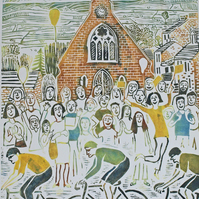 "Large hand-printed lino ""Le Tour comes to Reeth, Swaledale"" Yorkshire"
