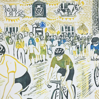 Large hand-printed colour lino of le Tour in Leyburn, Wensleydale, Yorkshire