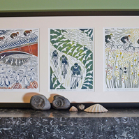Denise Burden - framed triptych hand-printed lino prints of cyclists