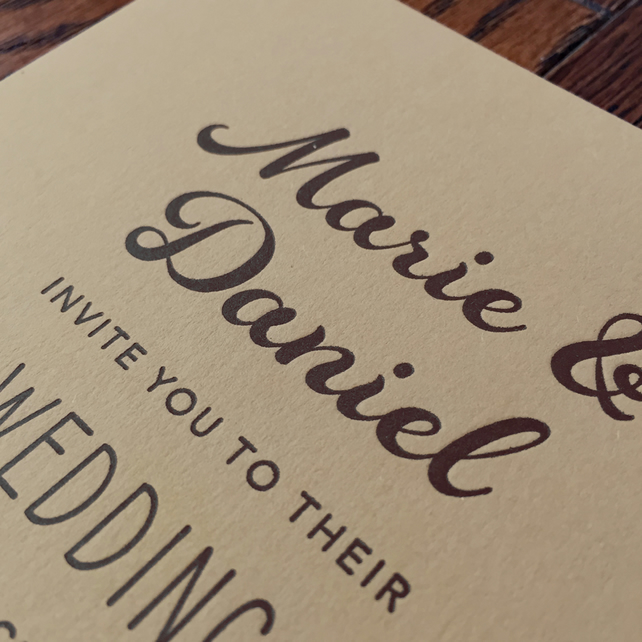 Letterpress wedding invitation suite sample
